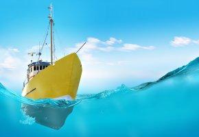 Обои вода, судно, корабль, корма, желтый