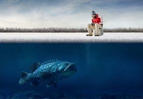 Обои рыбалка, зима, окунь, приманка, рыбак, озеро, лед