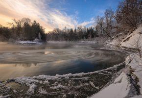 Озеро зима природа деревья лед снег
