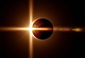 Обои галактика, планета, затмение, свет, звезды