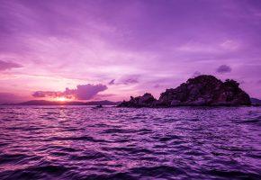 Обои британские виргинские острова, остров, море, закат, камни