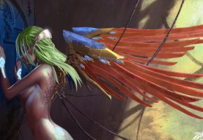 Обои профиль, девушка, тело, зеленые волосы, крылья, киборг, провода, спина, рук ...