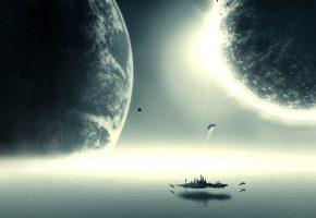 Обои stars, planet, планеты, остров, корабли, звезды