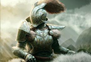 Обои воин, рыцарь, доспех, шлем, хвост, мех