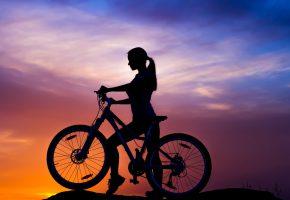 Обои bike, велосипед, байк, девушка, силуэт, закат, небо