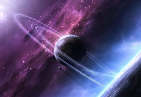Обои планеты, звезды, сияние, свет, кольца