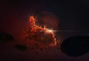 Обои разрушение, планета, взрыв, осколки, пыль
