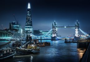 Обои London, City, River, Shard, Thames, Tower, Bridge, Nigth