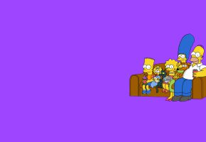 Обои the simpsons, минимализм, симпсоны, фиолетовый фон, диван