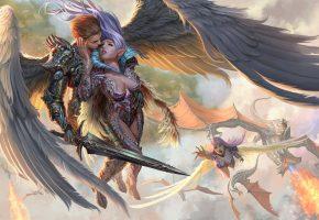 Обои Ангел, падший ангел, человек, мужчина, женщина, воин, доспехи, меч, крылья, ...