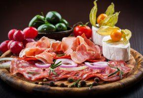 Обои Колбаса, Ветчина, Сыры, Овощи, фото