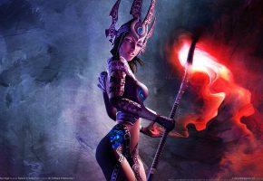 Обои sacred 2 fallen angel, Маг, Посох, Стафф, Свечение, Броня, Девушка