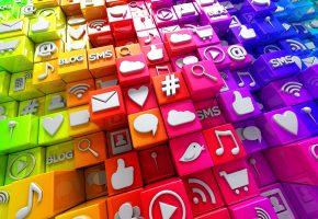 Обои social, media, icons, 3d, cubes, colorful, кубики, иконки, социальные сети, ...