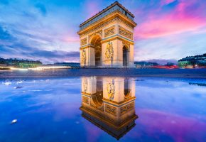 Обои Paris, arc de triomphe, architecture, арка, Париж, отражение, вечер