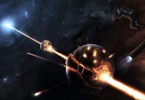 Обои разрушение, луч, уничтожение, планеты, звезды, взрыв
