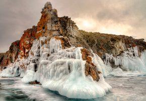 Обои озеро, Байкал, лёд, камни