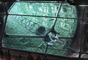 Обои космические корабли, порт, люди, палуба, метеорит, космическая станция
