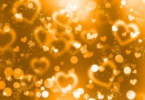 Обои сердечки, золото, любовь, праздник, настроение