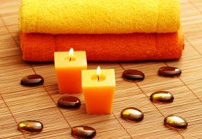 Обои полотенце, свечи, камни, огонь, отдых