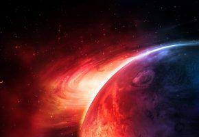 Обои планета, звезды, круги, свет, кольца, газ