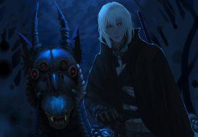 Обои парень, дракон, ниндзя, меч, амулет, наездник