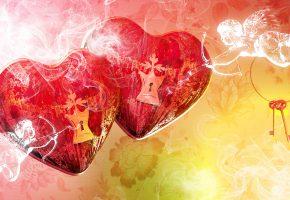 Обои сердечки, купидон, ключи, любовь, романтика, стрелы
