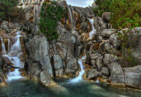 Обои водопад, вода, брызги, капли, ели, камни