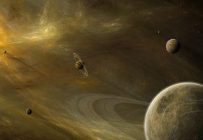 Обои планеты, звезды, кольца, туманность, газ