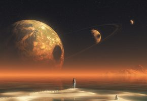 Обои планета, вода, небо, звезды, берег, человек, астронавт, космонавт, горы, кольцо, круг