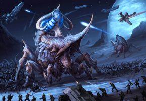 Обои фантастика, арт, Звездный десант, монстры, битва, планета