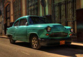Обои автомобиль, перед, ретро, фары, улица, Куба, Гавана
