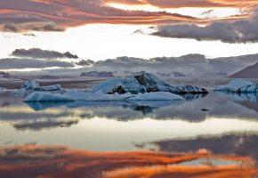 Обои пейзаж, лёд, море, небо, облака, отражение