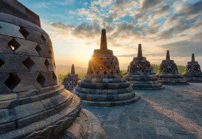 Обои Индонезия, остров, Ява, храмовый комплекс, ступа, Боробудур, вечер, солнце, ...