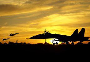 Обои силуэт, самолет, аэродром, военные, истребители, локатор, летчик, техник, н ...