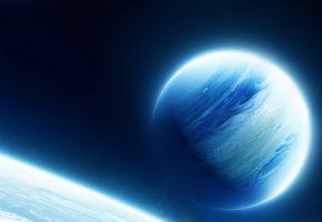 Обои космос, планета, свечение, звезды, пустота