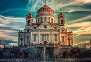 Обои храм, церковь, купола, здание, кресты, фонтан