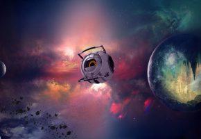 Обои Планета, Вселенная, туманности, звезды, шатл, робот