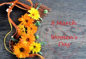 Обои 8 марта, женский день, цветы, герберы, сердечко, поздравление