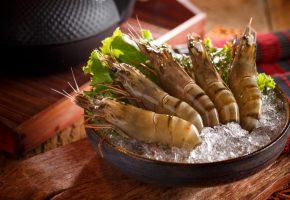 Обои креветки, усы, лед, морепродукты, японская кухня