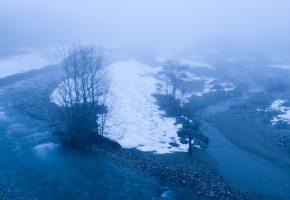 Обои весна, ручей, река, туман, снег