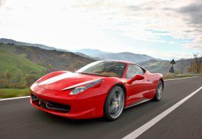 Обои Ferrari, красная, 458, машина, красивая, скорость, дорога, авто