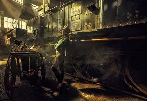 Обои Steampunk, Workshop, девушка, курит, депо, паровоз, опасно, для жизни