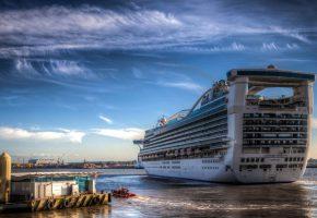 Обои Круизный лайнер, Caribbean Princess, большой, плывет, коюты