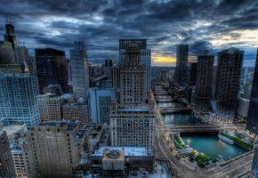 Обои вечер, Чикаго, дома, здания, высотки, дороги, река