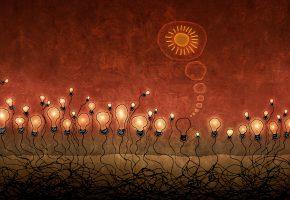Обои красный, толпа, свет, корни, светило, гений, солнце, люди, мысли