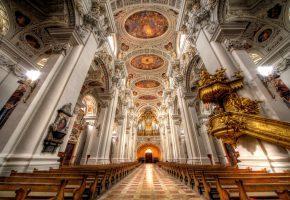 Обои собор, церковь, религия, скамья, интерьер