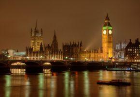 Обои Лондон, Англия, ночь, огни, парламент, башня, река, Темза, мост