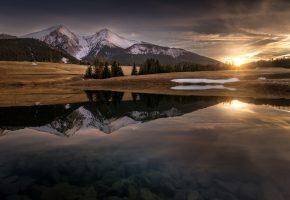 Обои горы, Карпаты, Татры, вечер, солнце, вода, отражения