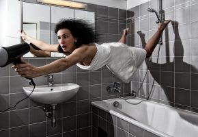 Обои ванная, девушка, фен, волосы, полотенце