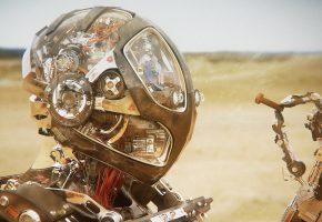Обои робот, гайка, будущее, песок, пустыня